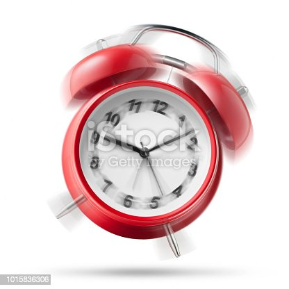 istock Alarm clock ringing on white background 1015836306