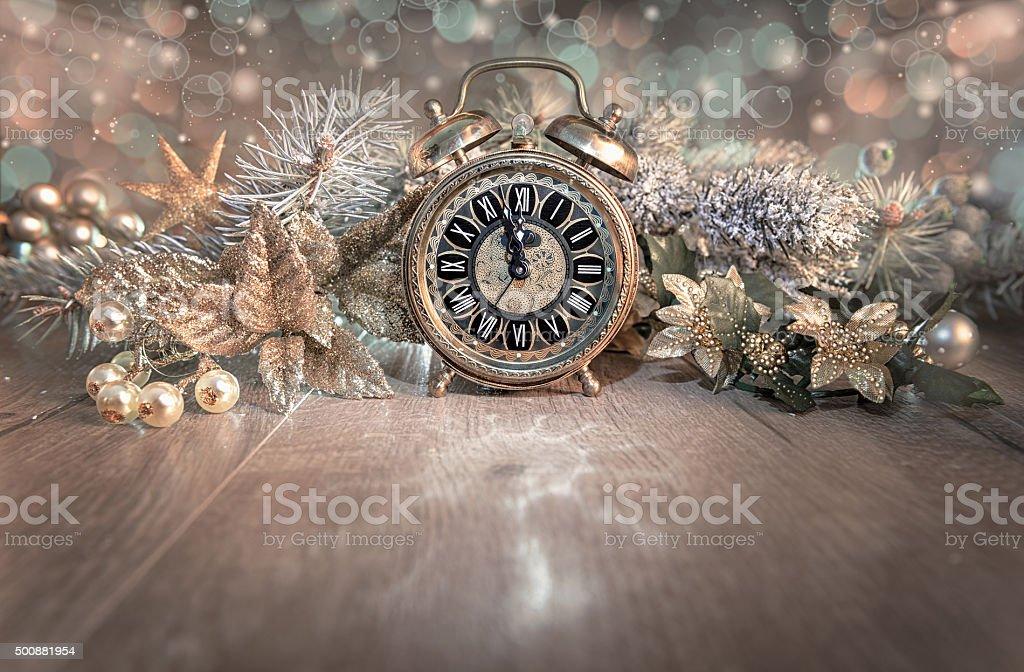 Alarm clock showing five to twelve. Happy New Year 2016! stock photo