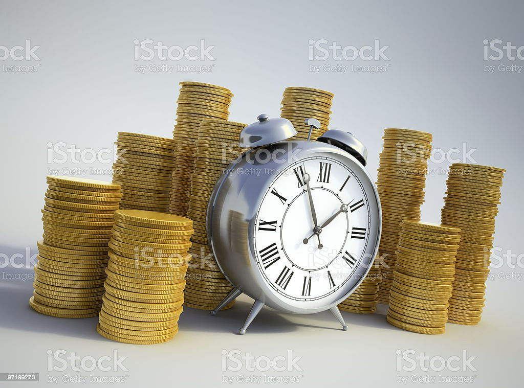 Alarm clock surrounded with coins royalty-free stock photo