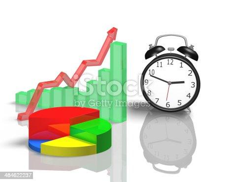 486439381istockphoto Alarm clock with 3d chart 484622237