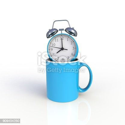 904387004 istock photo Alarm clock with blue coffee cup isolated on white background. Mock up Template for application design. Exhibition equipment. Set template for the placement of the logo. 3D rendering. 909404250