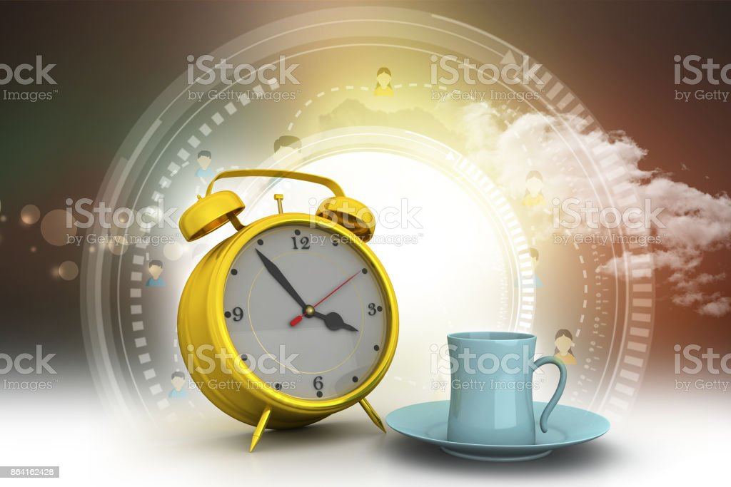 Alarm clock with cup of tea royalty-free stock photo