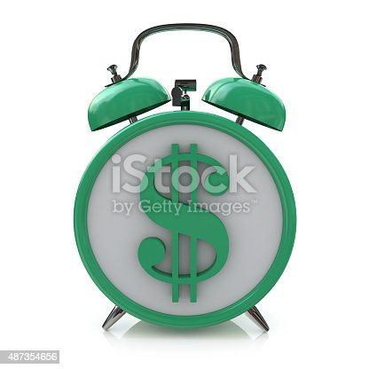 istock alarm clock with dollar symbol on clockface. Time is money 487354656