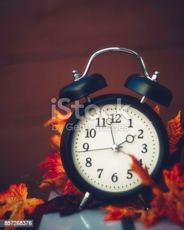 istock Alarm clock with fall leaves Daylight Savings Time 857268376