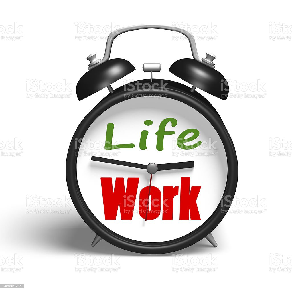 Alarm clock with life and work face stock photo