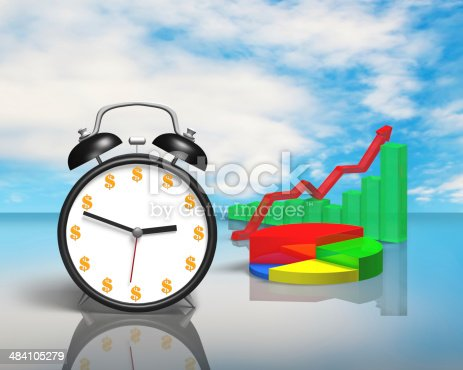 486439381istockphoto Alarm clock with money face and 3D chart 484105279