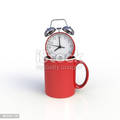 904387004 istock photo Alarm clock with red coffee cup isolated on white background. Mock up Template for application design. Exhibition equipment. Set template for the placement of the logo. 3D rendering. 902097100