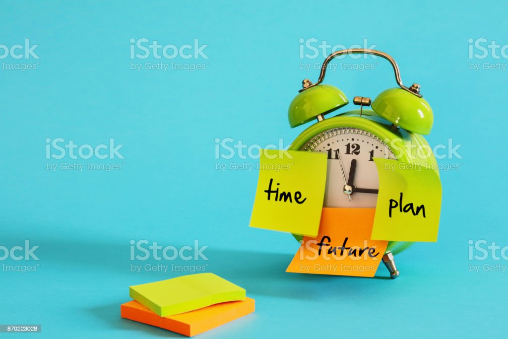 Alarm clock with sticky paper stock photo