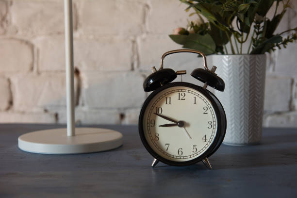 Alarm clock with table lamp and flower in pot on nightstand stock photo