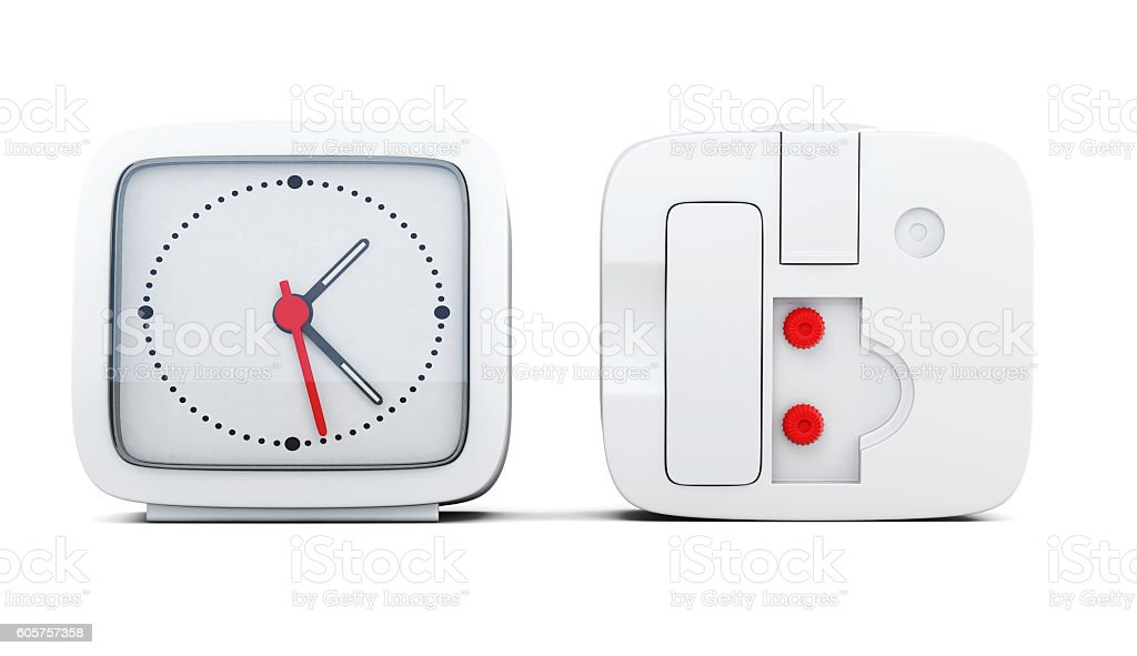 Alarm clock with the two sides stock photo