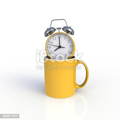 904387004 istock photo Alarm clock with yellow coffee cup isolated on white background. Mock up Template for application design. Exhibition equipment. Set template for the placement of the logo. 3D rendering. 908872822