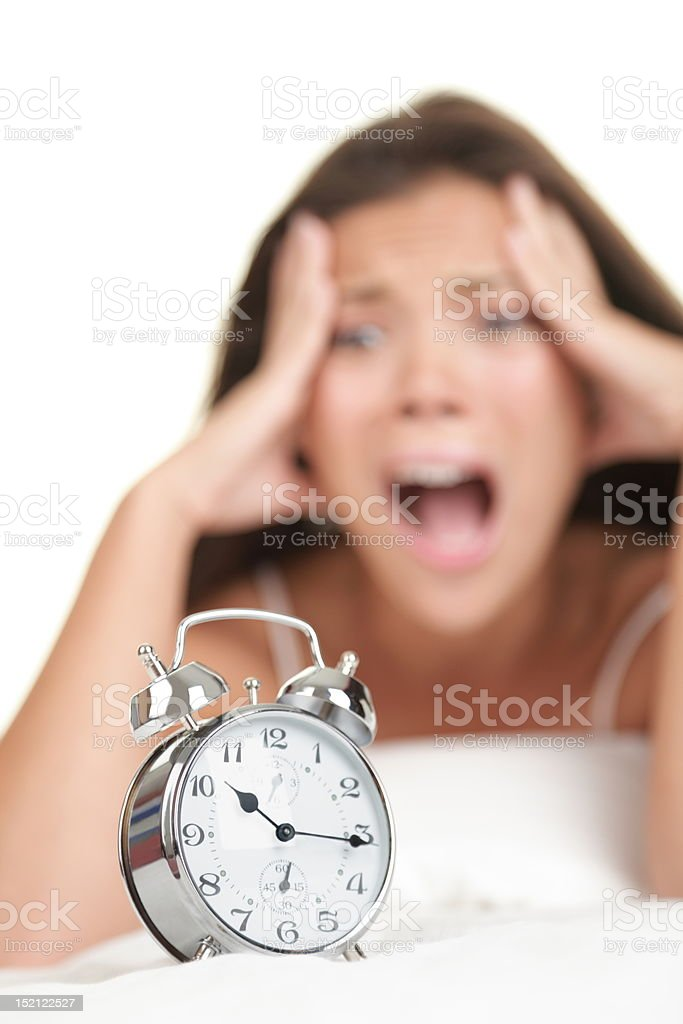Alarm Clock Woman Late in the morning royalty-free stock photo