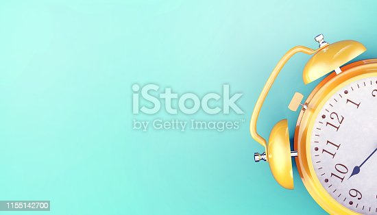 Alarm clock Yellow Retro background Concept Old Modern Art minimal on Turquoise Blue background - 3d rendering