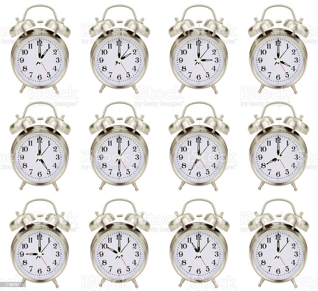 Alarm Clocks Every Hour royalty-free stock photo