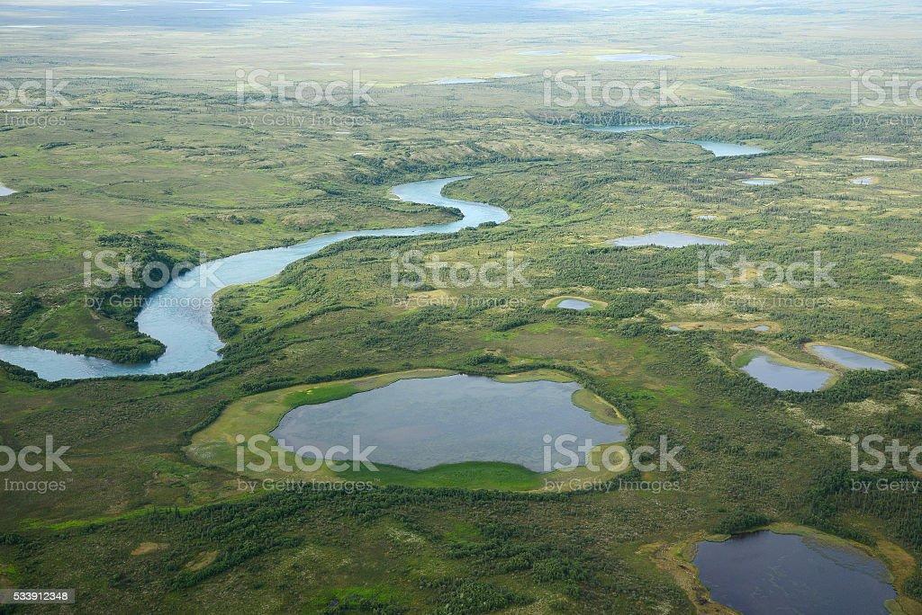 alaska aerial view stock photo