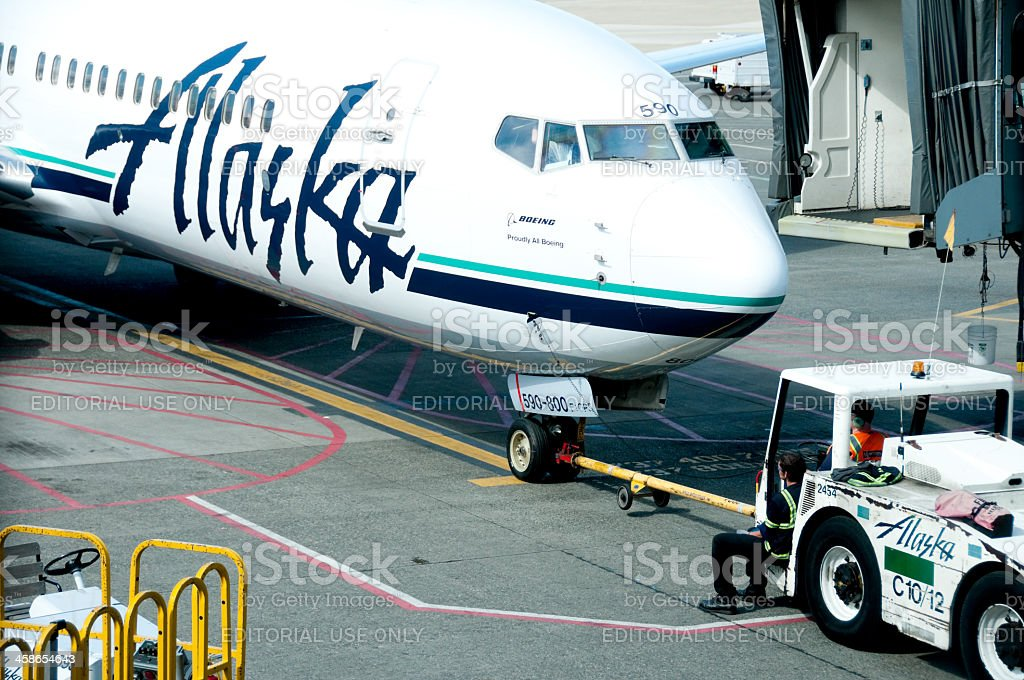 Alaska Airlines departure royalty-free stock photo