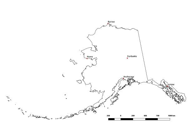 alaska black and white state outline with major cities 2015 - alaska us state stock photos and pictures