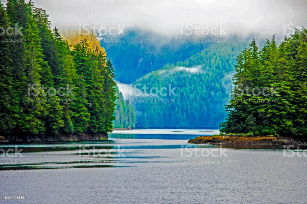 Alaska Cove Inland Passage stock photo
