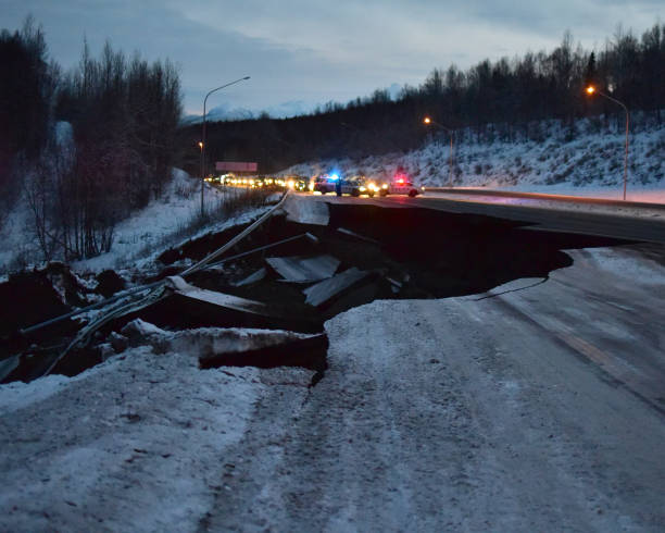 Alaska Earthquake Damage stock photo
