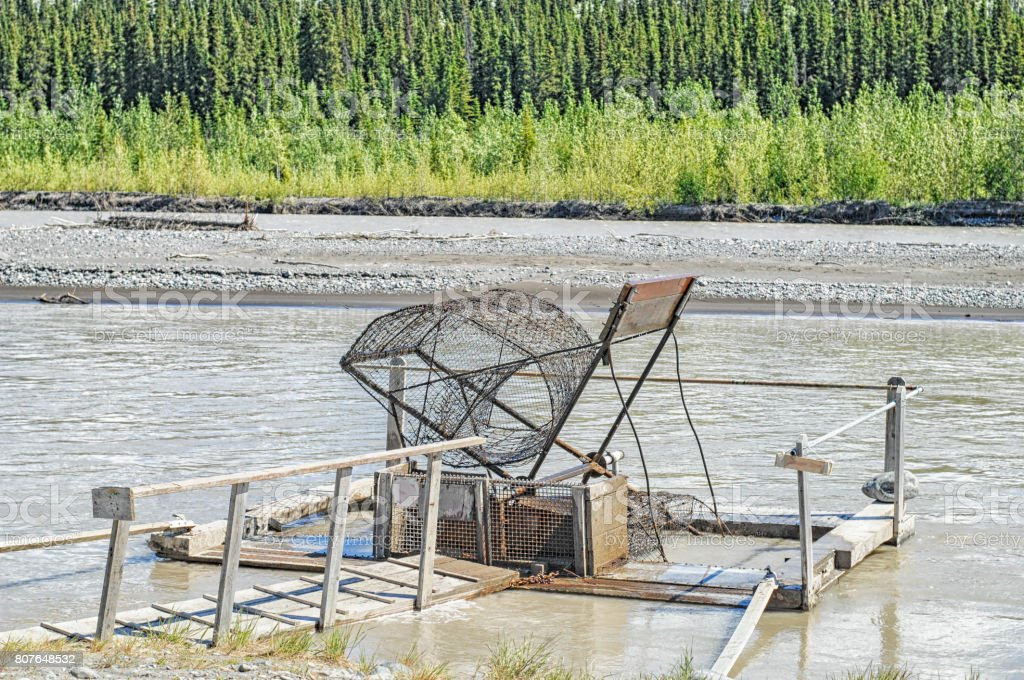 Alaska Fish Wheel stock photo