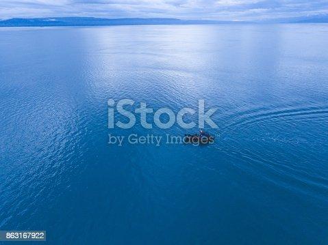 istock Alaska fishing boat alone on the water 863167922
