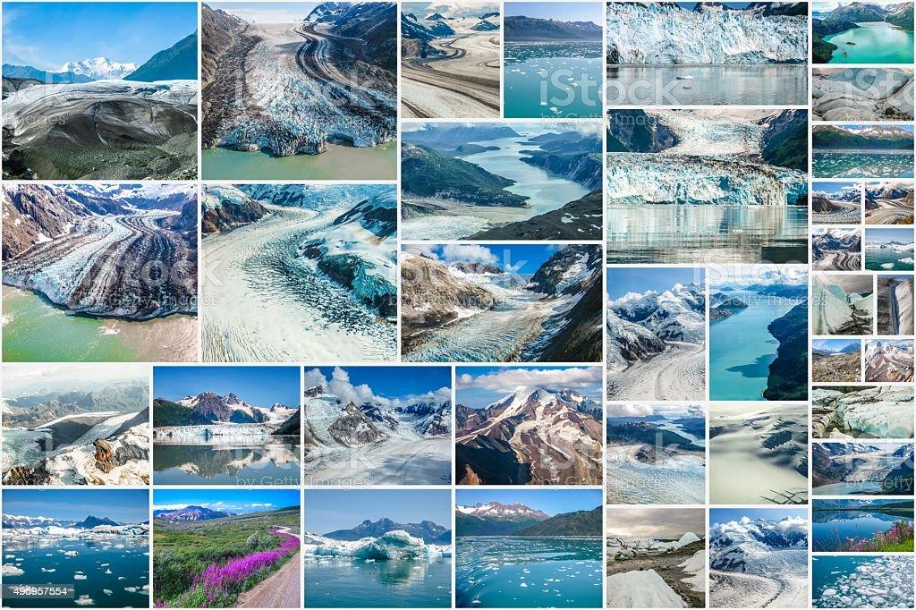 Alaska Glaciers collage stock photo