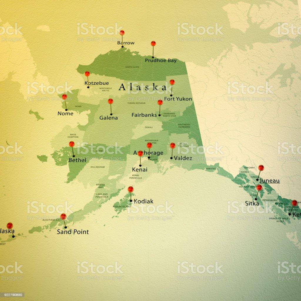 Alasca mapa Praça cidades reta pino Vintage - foto de acervo