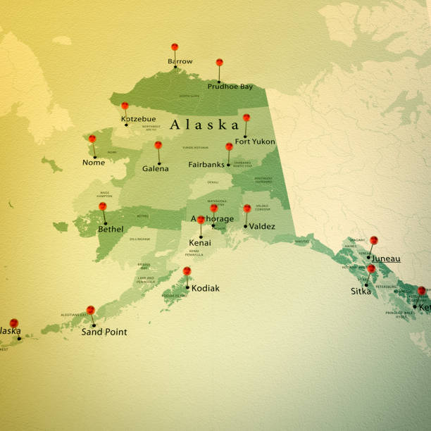 alaska map square cities straight pin vintage - alaska us state stock photos and pictures