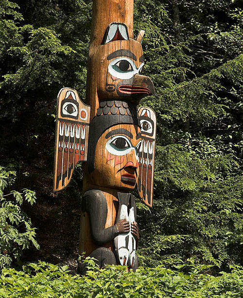 Alaska Native Totem Pole Detail West coast native totem pole detail located in Ketchikan, Alaska. ketchikan stock pictures, royalty-free photos & images