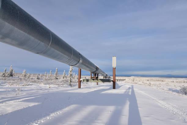 Alaska Pipeline winter landscape stock photo