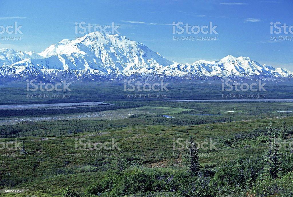 Alaska Range from across the tundra stock photo