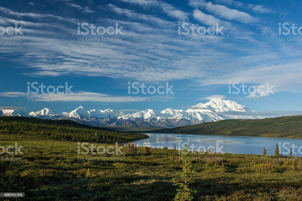 Alaska Range from Wonder Lake, Denali National Park, Alaska. stock photo
