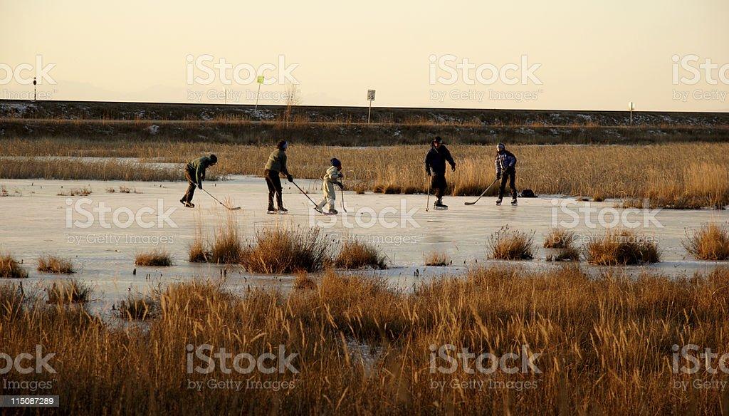 Alaska scenes - skaters on ice royalty-free stock photo