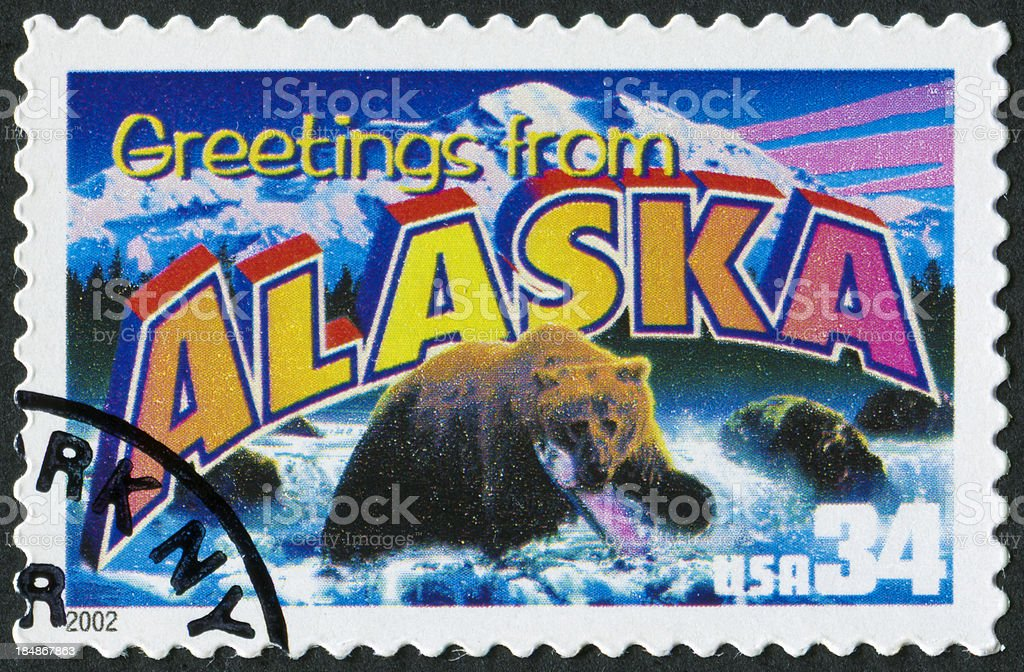 Alaska Stamp stock photo