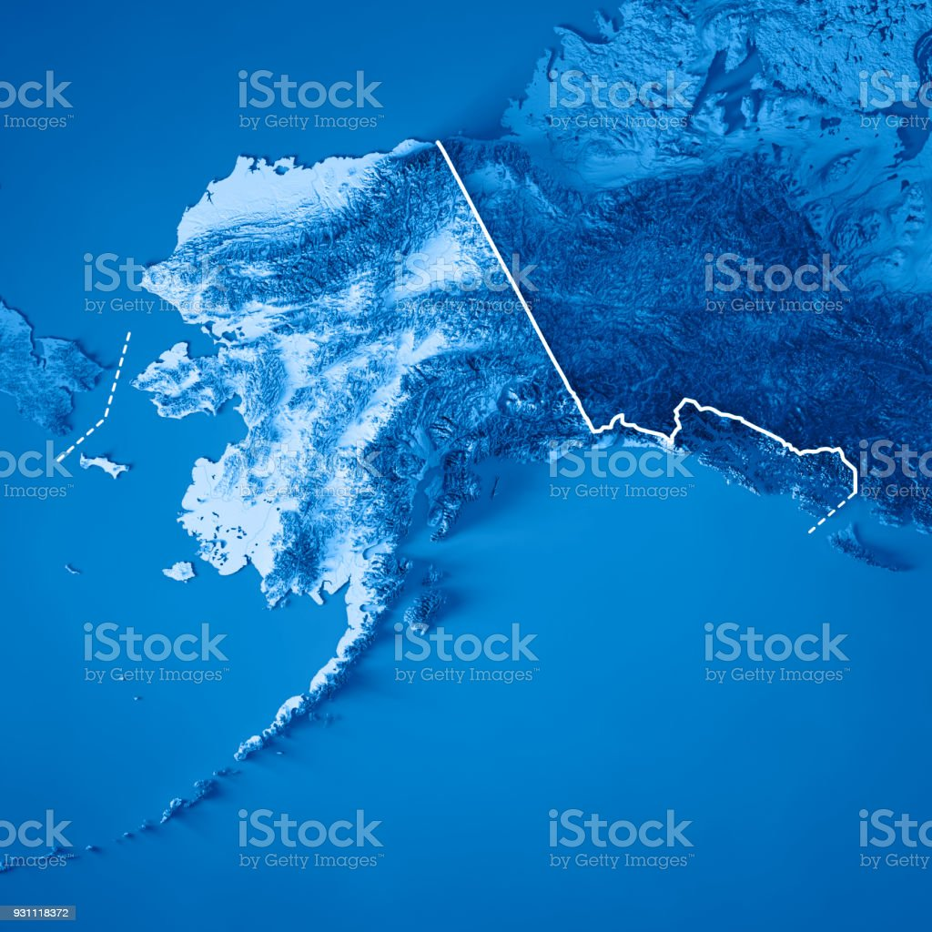 Alaska State 3d Render Topographic Map Blue Border Stock Photo