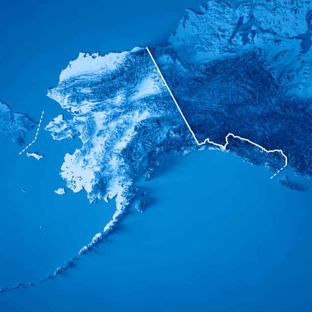 alaska state 3d render topographic map blue border - alaska us state stock photos and pictures