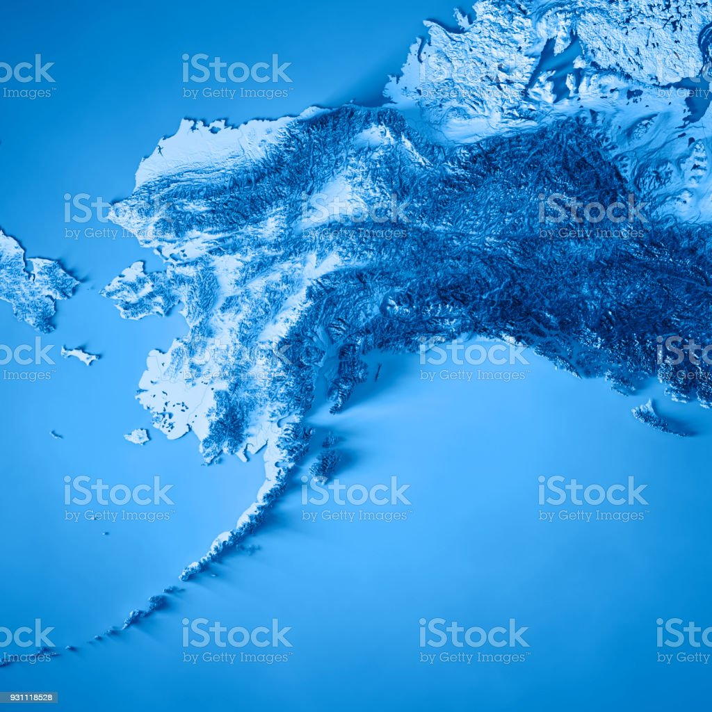 Alaska State 3D Render Topographic Map Blue stock photo
