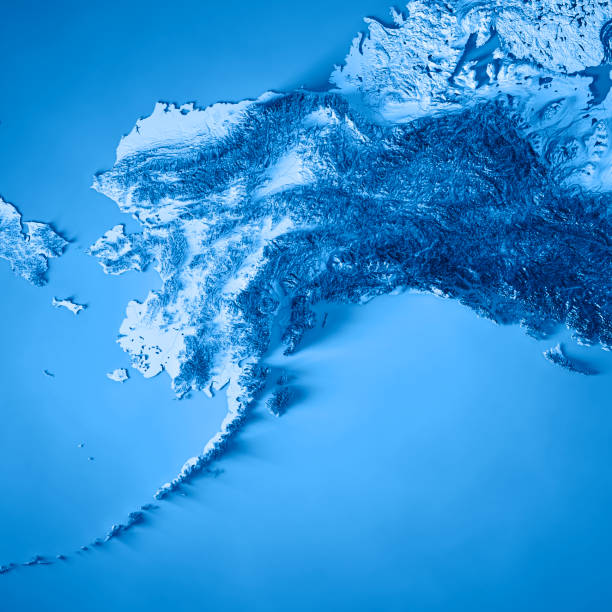 alaska state 3d render topographic map blue - alaska us state stock photos and pictures