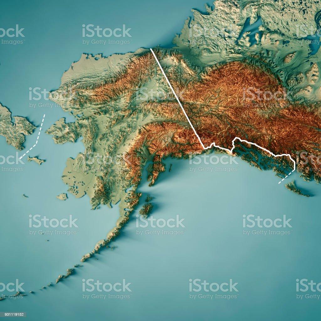 Estado de Alaska Render 3D mapa topográfico fronteira - foto de acervo