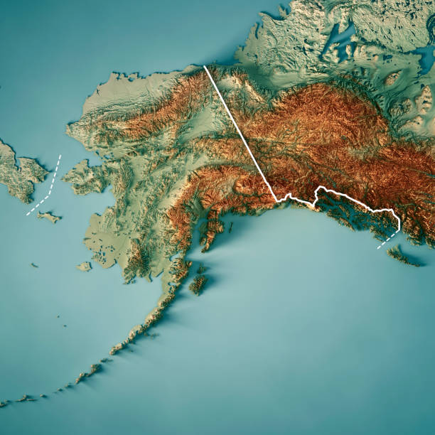 alaska state 3d render topographic map border - alaska us state stock photos and pictures