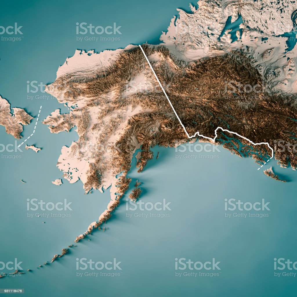 Estado de Alaska Render 3D mapa topográfico fronteira neutro - foto de acervo