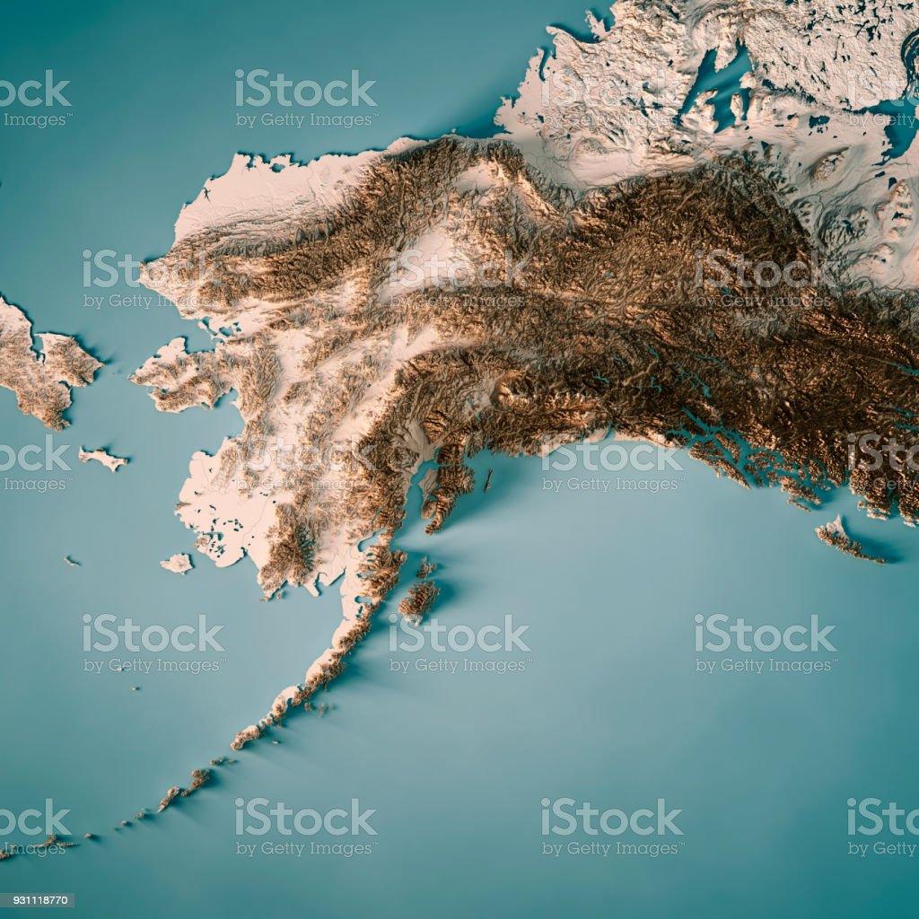 Estado de Alaska Render 3D mapa topográfico neutro - foto de acervo