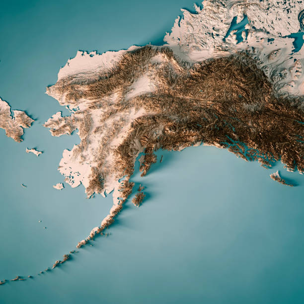 alaska state 3d render topographic map neutral - alaska us state stock photos and pictures