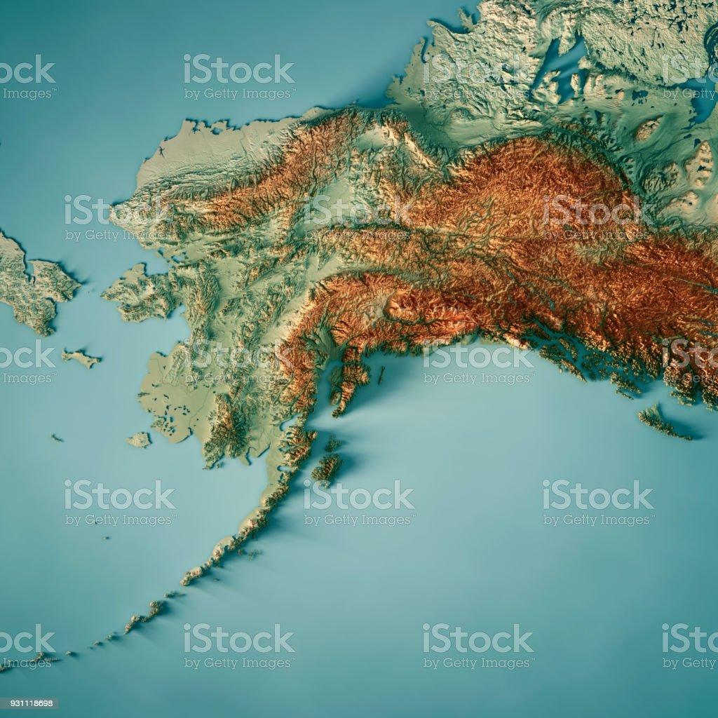 Mapa topográfico do estado de Alaska Render 3D - foto de acervo
