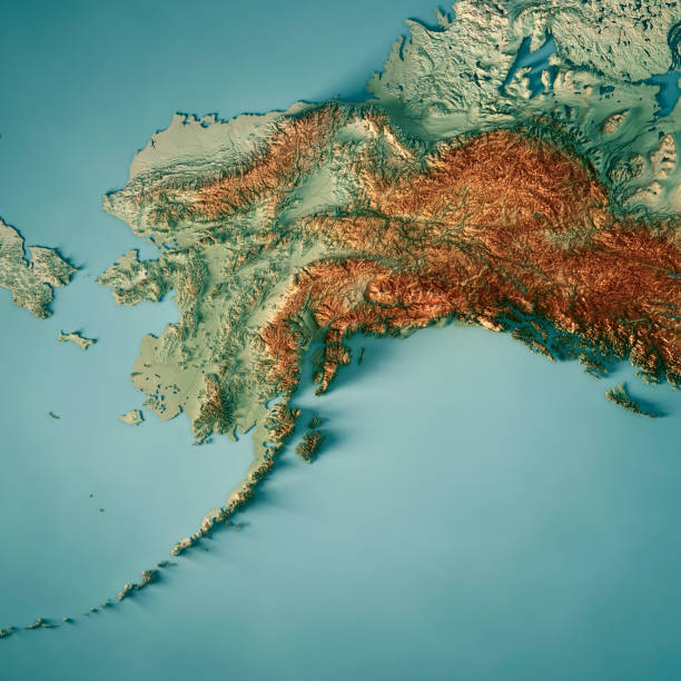 alaska state 3d render topographic map - alaska us state stock photos and pictures
