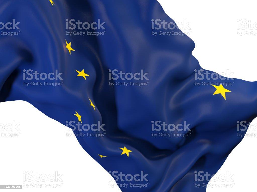 Bandeira do estado de Alaska close-up. Bandeiras de locais dos Estados Unidos - foto de acervo