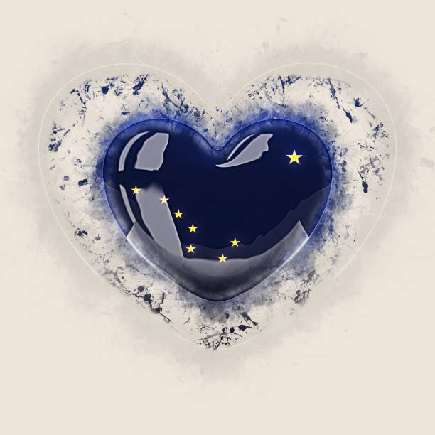 alaska state flag on a grunge heart. united states local flags - alaska us state stock photos and pictures