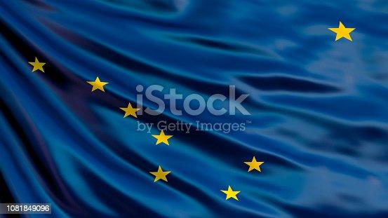 istock Alaska  state flag. Waving flag of Alaska  state, United States of America. 1081849096