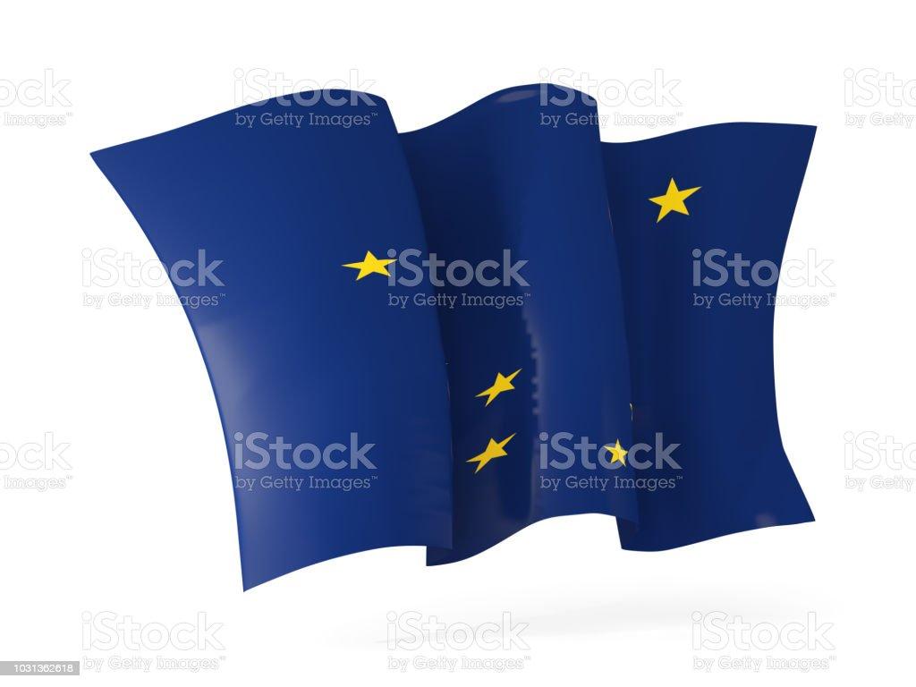 Alasca estado bandeira agitando ícone close-up. Bandeiras de locais dos Estados Unidos - foto de acervo