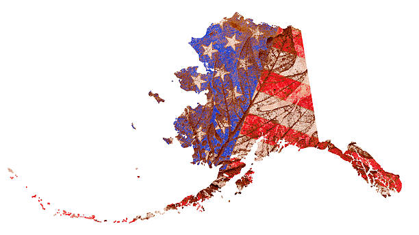 alaska state map flag pattern - alaska us state stock photos and pictures